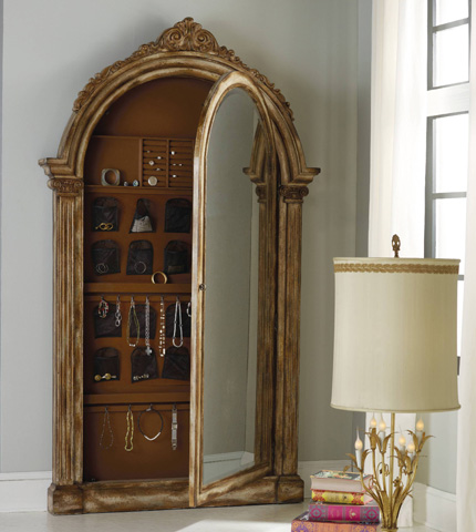 Hooker Furniture - Vera Floor Mirror with Jewelry Armoire Storage - 638-50056