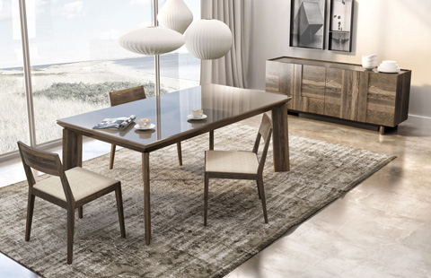 Huppe - Large Rectangular Dining Table with Glass Top - 004789-TABLE