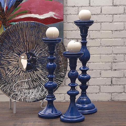 IMAX Worldwide Home - Essentials Marine Blue Candle Holders - Set of 3 - 10348-3