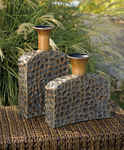 IMAX Worldwide Home - Liana Reptilian Angular Bottles - Set of 2 - 12918-2