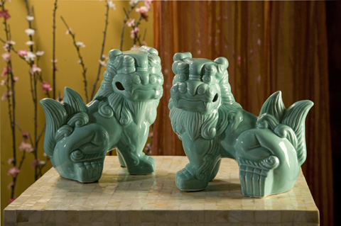 IMAX Worldwide Home - Choo Foo Dogs - Set of 2 - 34073-2