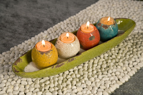 IMAX Worldwide Home - Mercade Tealight Candle Holders in Tray - Set of 5 - 40170-5