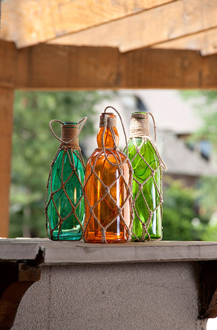 IMAX Worldwide Home - Williams Glass Bottles with Jute Hangers-Set of 3 - 50750-3