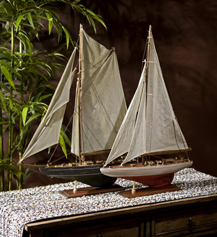 IMAX Worldwide Home - Antiqued Sailing Vessels - Set of 2 - 50880-2