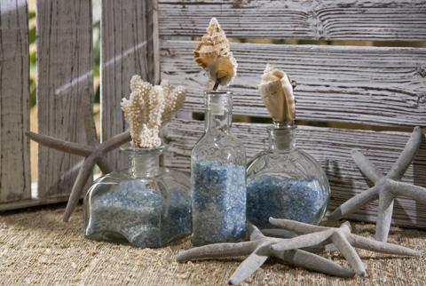 IMAX Worldwide Home - Shell Stopper Glass Bottles - Set of 3 - 56279-3