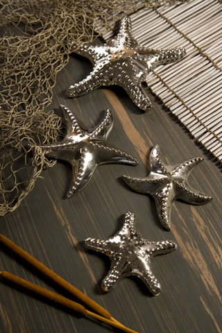 IMAX Worldwide Home - Cortland Silver Star Fish - Set of 4 - 64102-4