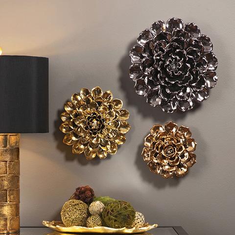 IMAX Worldwide Home - Metallic Large Ceramic Wall Flower - 64235