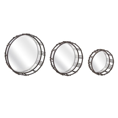 IMAX Worldwide Home - Roman Time Mirror Tray Wall Decor - Set of 3 - 65157-3
