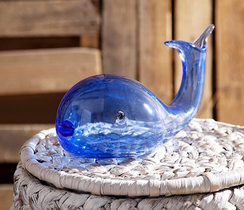 IMAX Worldwide Home - Andover Glass Whale Statuary - 65436