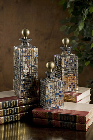 IMAX Worldwide Home - Moulin Mosaic Bottles - Set of 3 - 71061-3