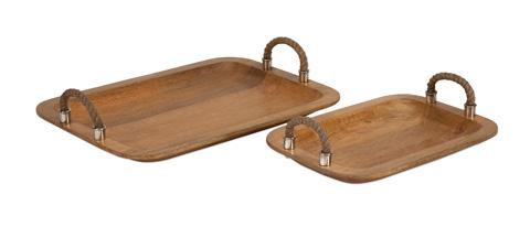 IMAX Worldwide Home - Tabari Wood Trays with Jute Handle - Set of 2 - 71727-2