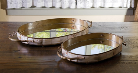 IMAX Worldwide Home - Noelle Oval Tray With Mirror - Set of 2 - 74052-2