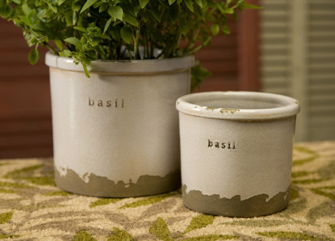 IMAX Worldwide Home - Basil Herb Pots - Set of 2 - 76014-2