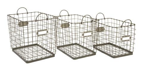 IMAX Worldwide Home - Newbridge Wire Storage Baskets - Set of 3 - 84319-3