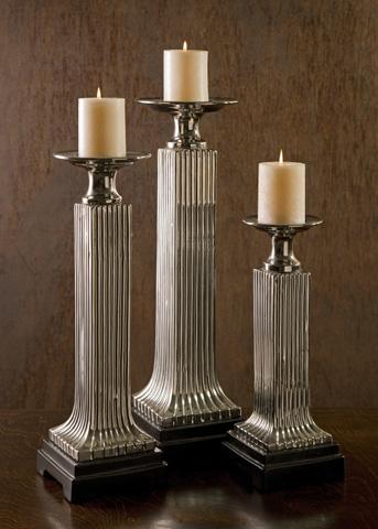 IMAX Worldwide Home - CKI Ribaldo Chrome Candleholders - Set of 3 - 94325-3