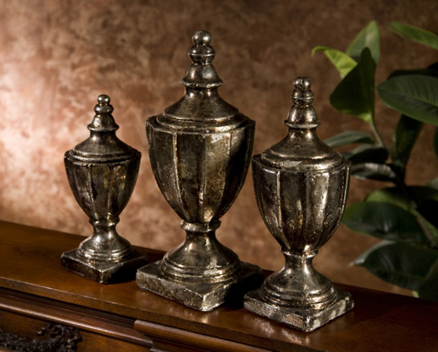 IMAX Worldwide Home - Neville Lidded Vases - Set of 3 - 40221-3