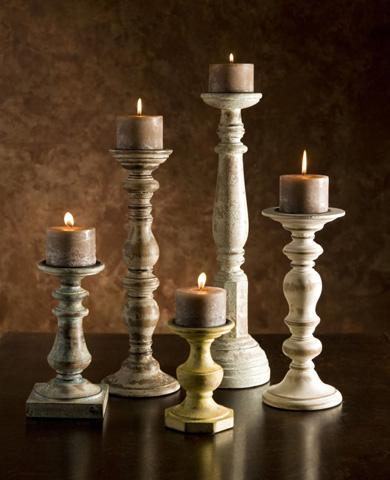 IMAX Worldwide Home - Kanan Wood Candleholders - Set of 5 - 5544-5