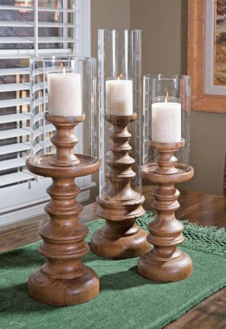 IMAX Worldwide Home - Bailey Wood Candleholders - Set of 3 - 56385-3