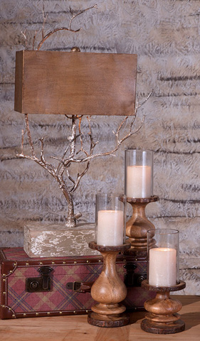 IMAX Worldwide Home - Nakato Wood Bark Candleholders - Set of 3 - 71826-3