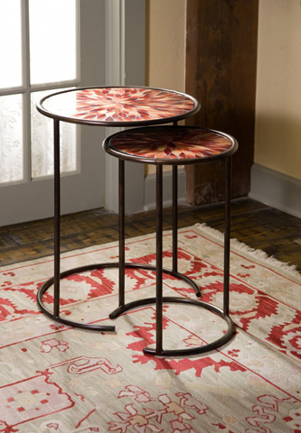 IMAX Worldwide Home - Mashaka Handcrafted Mosaic Glass Tables - Set of 2 - 83015-2
