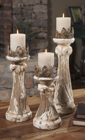 IMAX Worldwide Home - Feliciano Hand Carved Wood Candleholders- Set of 3 - 84336-3