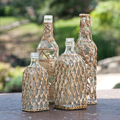 IMAX Worldwide Home - Manitoba Rattan Glass Bottles - Set of 4 - 84487-4