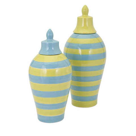 IMAX Worldwide Home - Savannah Large Blue and Green Striped Lidded Vase - 94352