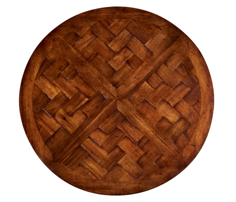 Image of Round Parquet Topped Side Table