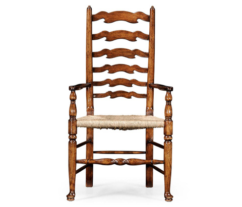 Image of Curved Ladder Back Rush Seat Arm Chair