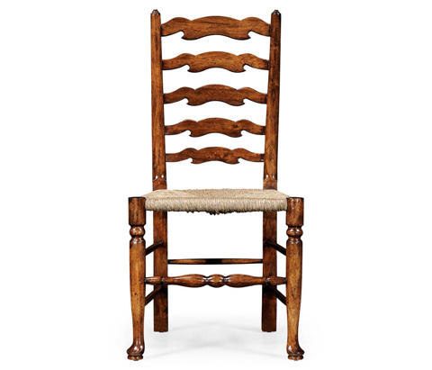Image of Curved Ladder Back Rush Seat Side Chair