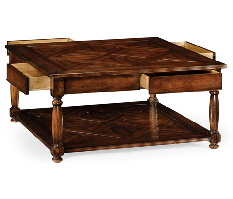 Jonathan Charles - Square Parquet Topped Coffee Table - 492022