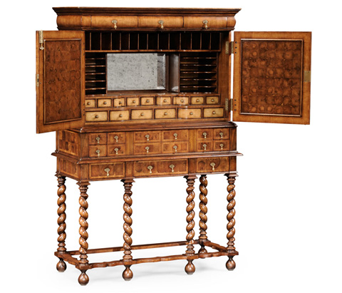 Jonathan Charles - William and Mary Oyster Writing Cabinet on Stand - 492033