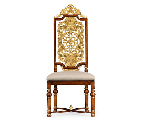 Jonathan Charles - Jacobean Style Gilt Walnut Side Chair - 492491
