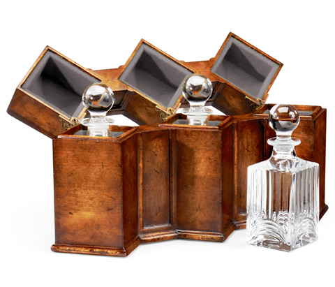 Jonathan Charles - Triple Decanter Set In Conjoined Square Cases - 492781