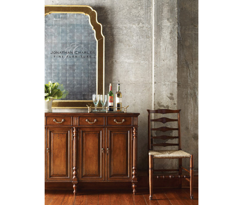 Jonathan Charles - Double Narrow Cabinet with Twin Cupboards - 492973