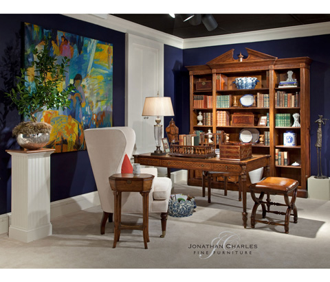 Jonathan Charles - French Style Walnut Footstool - 493052