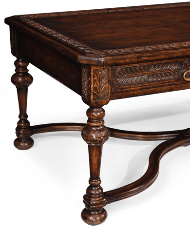 Jonathan Charles - Chip Carved Dark Oak Rectangular Coffee Table - 493129