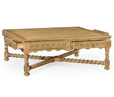 Jonathan Charles - Natural Oak Tudor Style Square Coffee Table - 493167-L