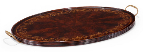 Jonathan Charles - Oval Tray with Floral Inlay - 493276