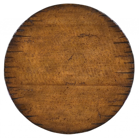 Jonathan Charles - Walnut Round Lamp Table with Heavy Distress - 493425