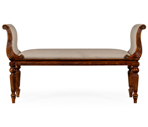 Jonathan Charles - Neo-Classical Walnut Bench - 493583