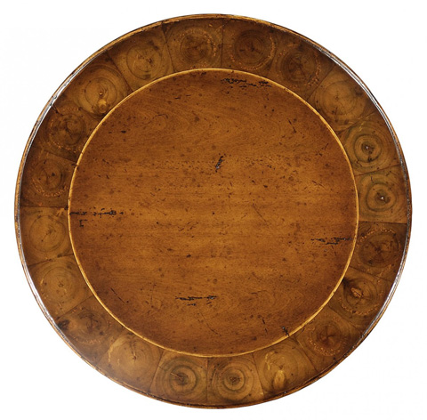 Jonathan Charles - Oyster and Walnut Round Lamp Table - 493730