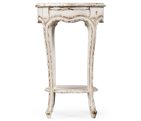 Jonathan Charles - French Small Round Lamp Table in White - 493955