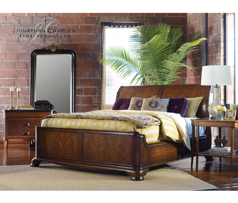 Jonathan Charles - Black and Gilded Mirror - 494182