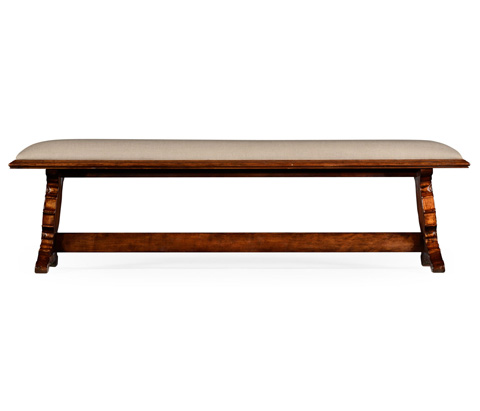 Jonathan Charles - Long Portuguese Style Argentinian Walnut Bench - 494231