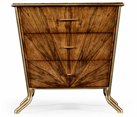 Jonathan Charles - Argentinian Walnut Veneered Tapering Bedside Chest - 494388
