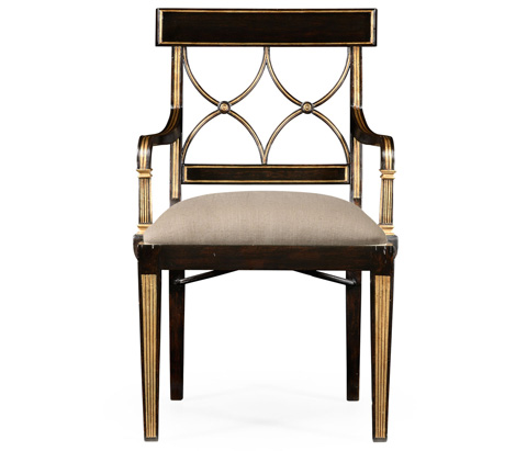 Jonathan Charles - Regency Black Painted Curved Back Arm Chair - 494390