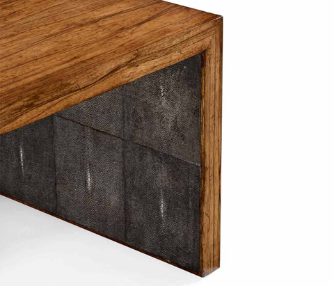 Jonathan Charles - Anthracite Faux Shagreen Coffee Table - 494393