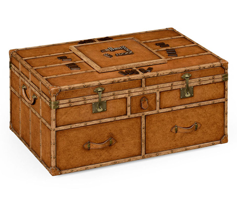 Jonathan Charles - Travel Trunk Style Coffee Games Table - 494473