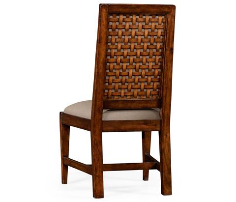 Jonathan Charles - Rustic Walnut Upholstered Side Chair - 494542